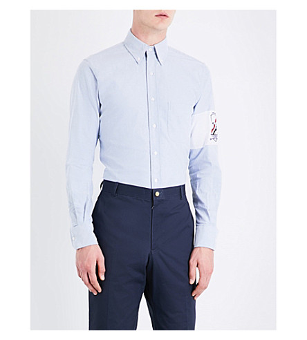 THOM BROWNE Oxford patch cotton shirt (Blue