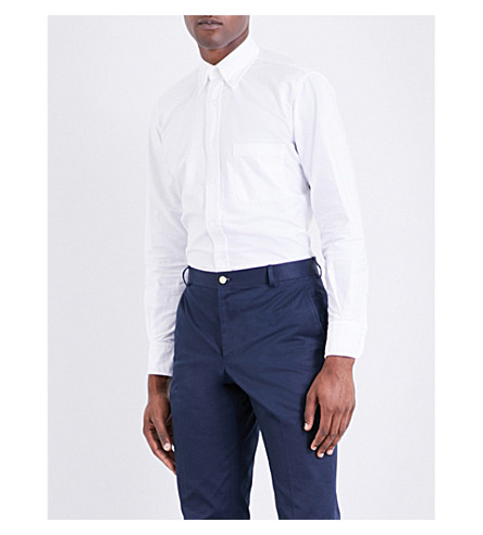 THOM BROWNE Button-down regular-fit Oxford-cotton shirt (White
