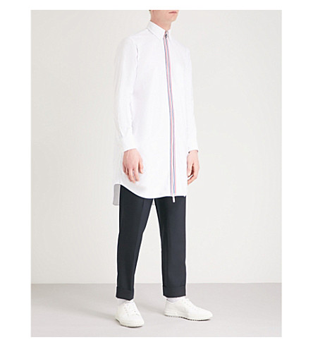 THOM BROWNE Striped zip longline cotton-twill shirt (White