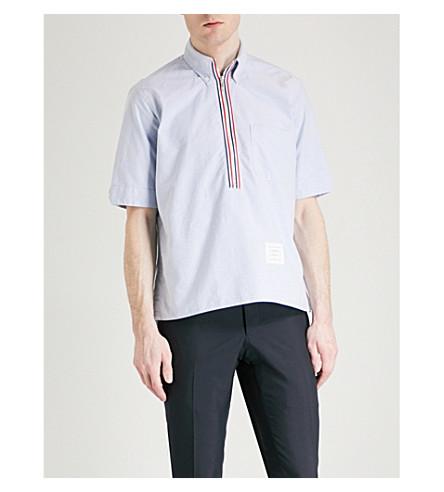 THOM BROWNE Tape-detail half-zip cotton shirt (Light+blue
