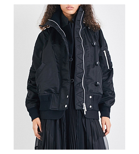 SACAI Ruched oversized bomber jacket (Black