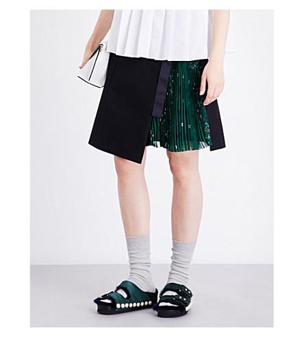 SACAI Bandana wool-blend skirt (Navy/green