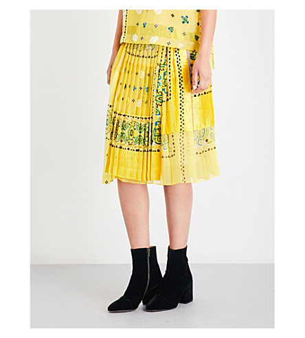 SACAI Bandana-print velvet and chiffon skirt (Yellow