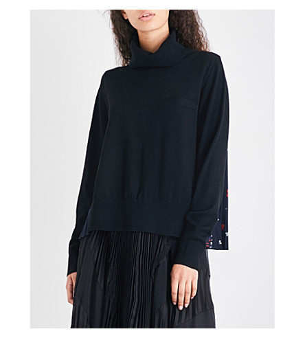 SACAI Bandana-print wool jumper (Black/navy