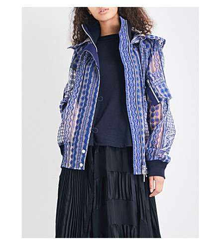 SACAI Hooded lace jacket (Beige/blue
