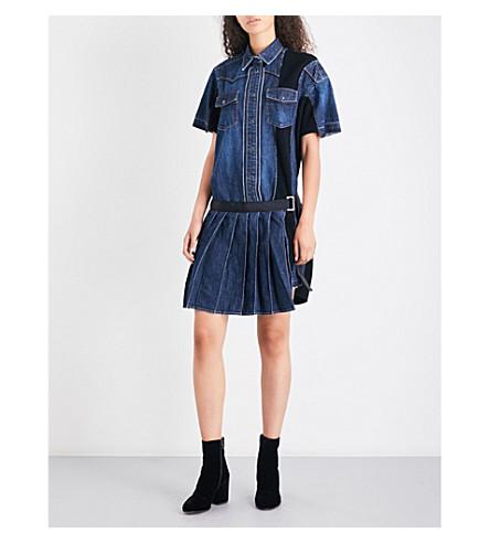 SACAI Pleated denim dress (Blue
