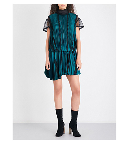 SACAI Pleated satin dress (Green