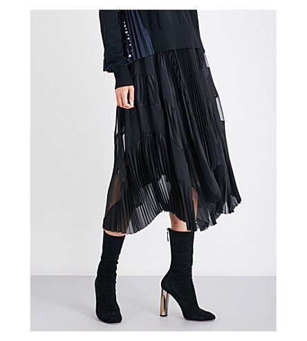 SACAI Pleated satin and chiffon skirt (Black