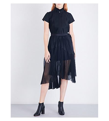 SACAI Bib-detail pleated cotton shirt dress (Black/black