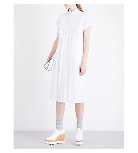 SACAI Pleated cotton shirt dress (White/white