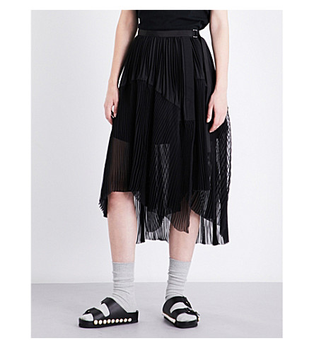 SACAI Pleated chiffon skirt (Black/black