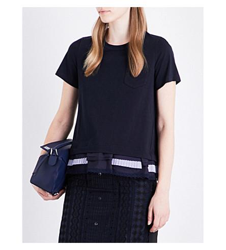 SACAI Pleated-panel cotton T-shirt (Navy/stripe