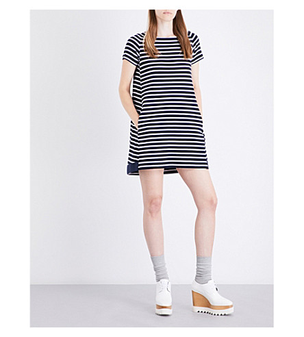 SACAI Striped cotton dress (Navy/white