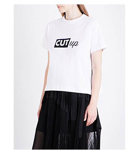 SACAI Cut Up cotton-jersey T-shirt (White