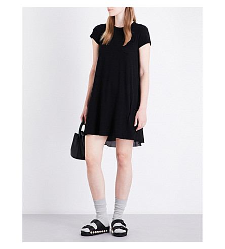 SACAI Contrast-back cotton-jersey dress (Black