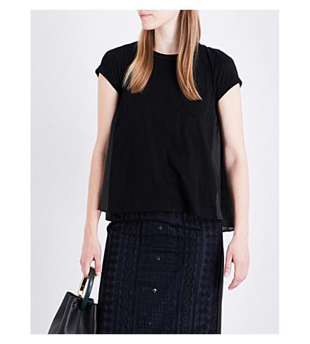 SACAI Contrast-back cotton T-shirt (Black