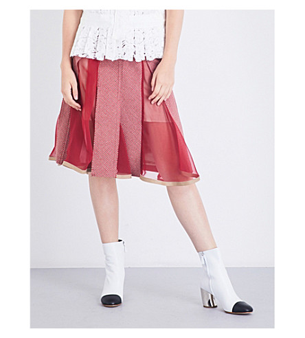 SACAI Houndstooth A-line wool-blend skirt (Pink/red/brown