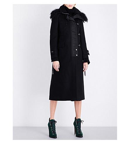 SACAI Melton faux-shearling wool coat (Black