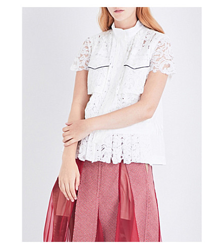 SACAI Piped floral-lace shirt (Off+white