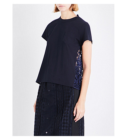 SACAI Lace-panel cotton T-shirt (Navy