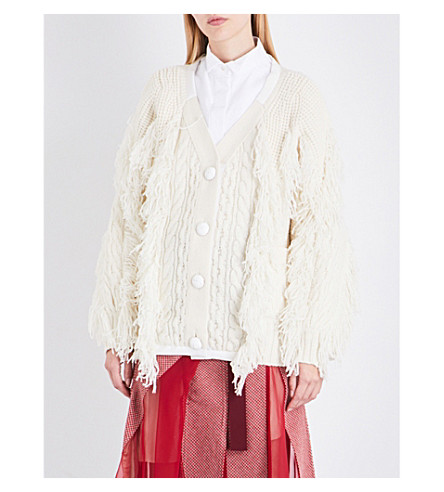 SACAI Fringed wool-blend cardigan (Off+white