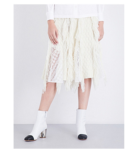 SACAI A-line fringed knitted skirt (Off+white