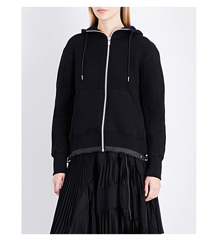 SACAI Branded cotton-jersey hoody (Black