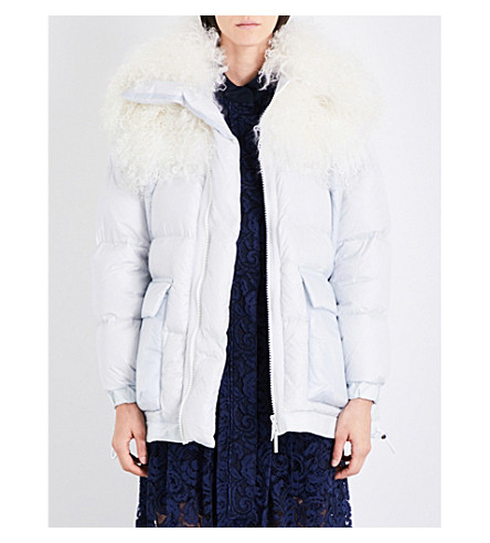 SACAI Faux-fur shell jacket (L+grey/off+white