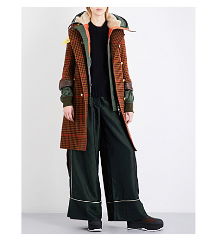 SACAI Contrast-underlay double-breasted tweed coat (Brown/bordeaux