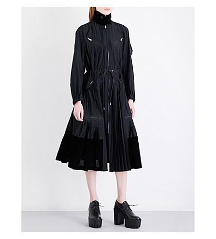 SACAI Zip-detail pleated poplin shirt dress (Black