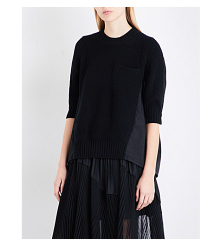 SACAI Contrast-panel wool and poplin jumper (Black