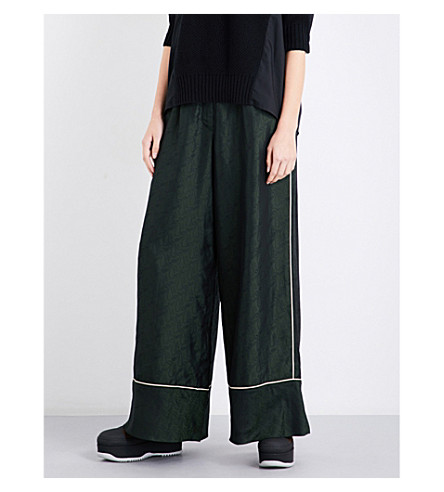 SACAI Paisley-patterned high-rise wide jacquard trousers (D.green+paisley