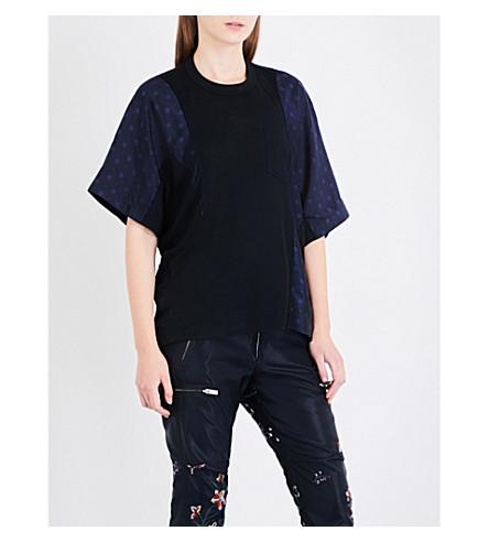 SACAI Oversized jacquard and linen-blend top (Black/navy