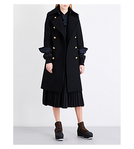 SACAI Shell underlay boiled-wool coat (Black
