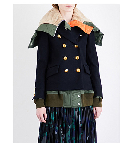 SACAI Double-breasted wool coat (Navy