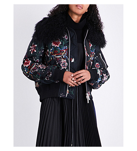 SACAI Floral-embroidered satin bomber jacket (Black