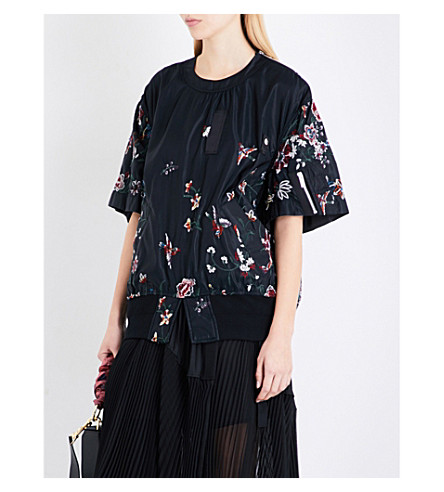 SACAI Floral-embroidered shell top (Black