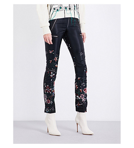 SACAI Flower-embroidered skinny high-rise satin trousers (Black