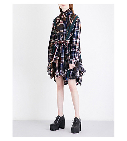 SACAI Pleated cotton-flannel mini dress (Navy/brown