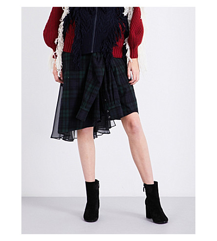 SACAI Checked cotton and chiffon patchwork skirt (Black/navy