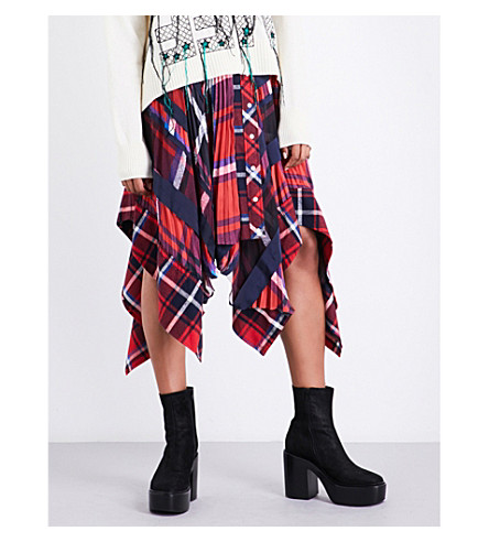 SACAI Asymmetric tartan satin skirt (Red/navy