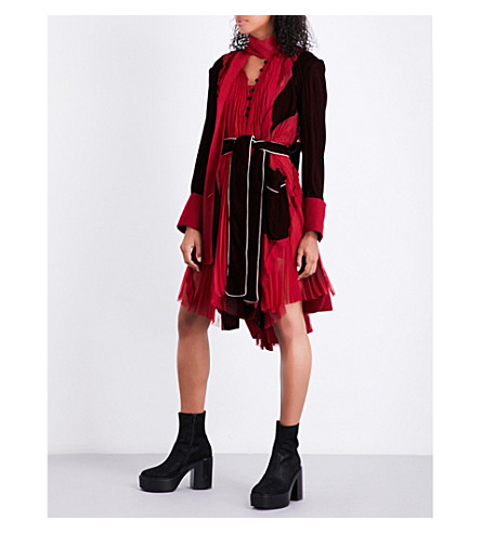 SACAI Pleated wool, velvet and chiffon dress (Red/bordeaux