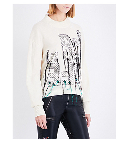 SACAI Text-embroidered wool jumper (Off+white