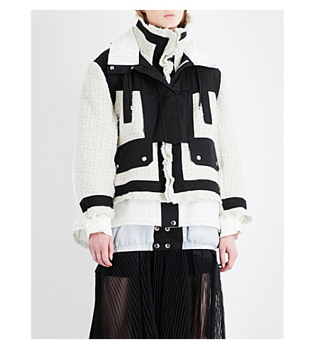 SACAI Tweed and cotton-blend hooded parka jacket (Black/off+white