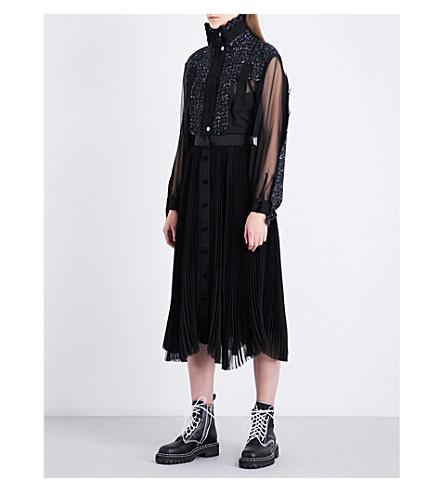 SACAI Pleated chiffon and tweed midi dress (Black/black