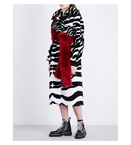 SACAI Zebra faux-fur coat (Offwhite/black
