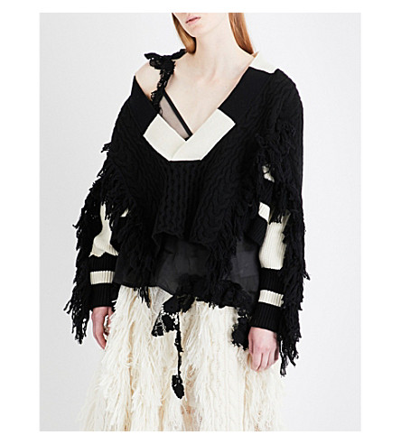 SACAI Fringed contrast-panel wool jumper (Black/off+white
