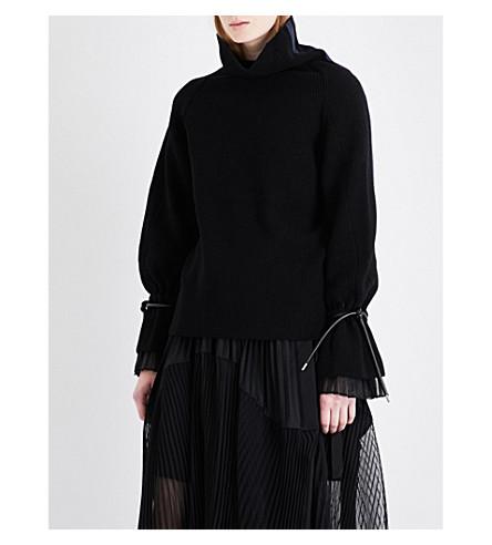 SACAI Pleated underlay turtleneck wool-blend jumper (Black