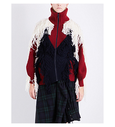 SACAI Turtleneck tassel-detail wool-blend cardigan (Navy/bordeaux/off+white