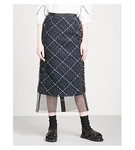 SACAI Chiffon-hem tweed midi skirt (Navy